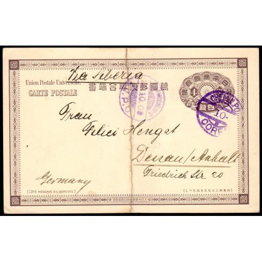 1909 POSTCARD CHEMULPO TO GERMANY VIA CHANGCHUN